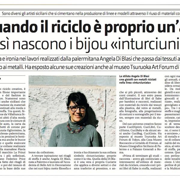 Quando Il Riciclo è Proprio Un'arte…Articolo Di Milva Averna Per Il Giornale Di Sicilia